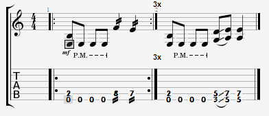 A guitar riff example shown in tab demonstrating tremolo picking