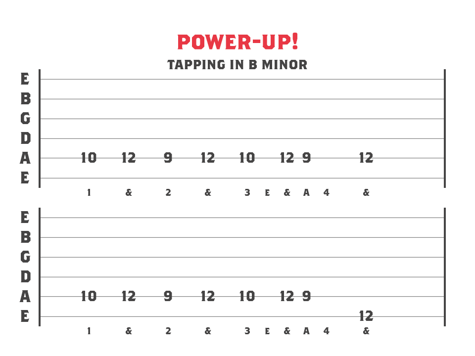 tapping in b minor - guitar tablature