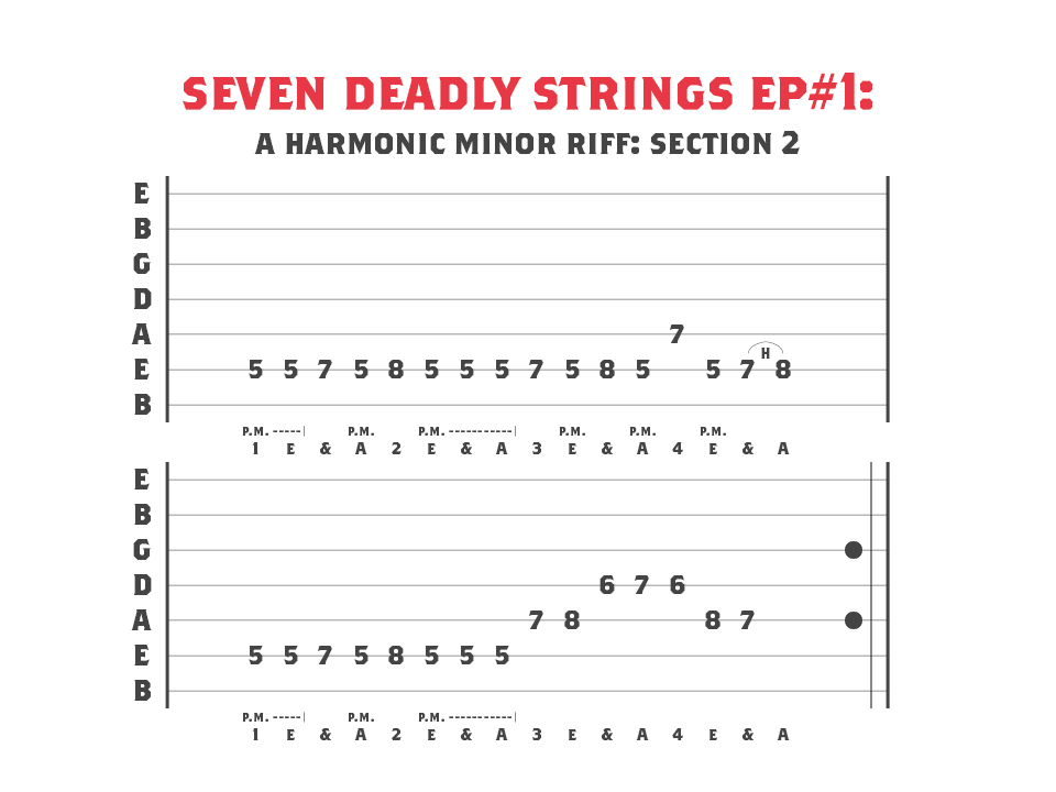 A Harmonic Minor Riff for 7 String Guitar